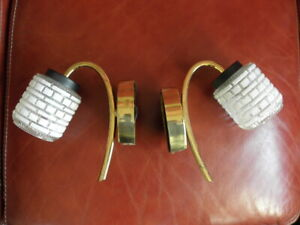 retro 1950 lamp Wall Sconces applied light pair glass vintage retro