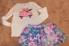 Girls' Size 7 2-PIECE OUTFIT (Floral Justice Skirt & Adventure Gymboree Shirt)