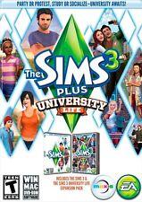 The Sims 3 Plus University Life (PC/Mac GAMES) - FREE SHIPPING