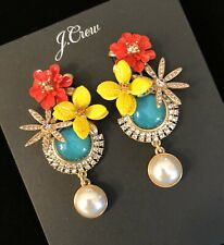 J.Crew TROPICAL BLOOM PEARL DROP EARRINGS! Sold Out New$59.50 Mult With Bag!