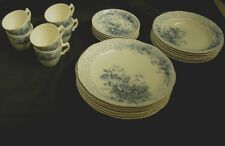 SERVICE FOR 6 S HANCOCK & SONS POPPY FLOW BLUE AND WHITE DINNERWARE 24 PIECES