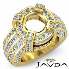 Round Semi Mount Diamond Pave Engagement Designer Huge Ring 14k Yellow Gold 2.9C