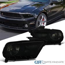 Ford 10-14 Mustang GT Black Housing Smoke Headlights Driving Head Lamps Pair
