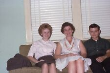 MOTHER, DAUGHTER & SON ON COUCH, UP SKIRT 1963 35mm PHOTO SLIDE
