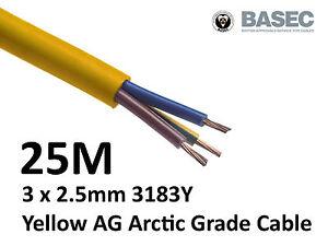 25M Arctic Yellow 3183Y Flex Cable 3core x 2.5mm Outdoor Construction Artic
