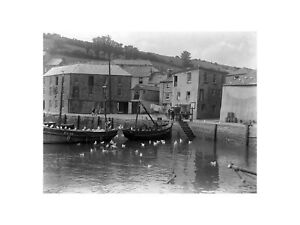 Fishing Boats at Mevagissey Harbour in Cornwall England 1927 Print 60x80cm