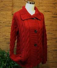 Maroon Burgundy Cardigan Sweater Cable Knit Eddie Bauer M Merino Wool Blend