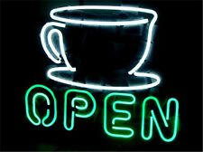 COFFEE SHOP OPEN NEON LIGHT SIGN Glass Tube Display STORE BEER BAR CLUB 17x14""