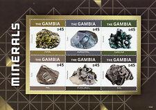 Gambia 2015 Mnh minerales 6v m/s Topacio Dioptasa Pirita cassiterite tetrahedrite