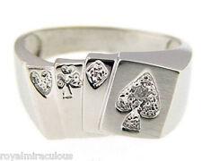 Gambling Diamond RING 14K White Gold Lucky Poker Ring
