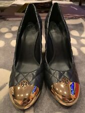 Tory Burch Kaitlin 95mm Wedge Navy / Gold - Quilted Leather - Size 11M