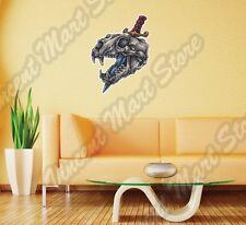 """Animal Dog Skull Crossbones Bayonet Knife Wall Sticker Interior Decor 20""""X25"""""""