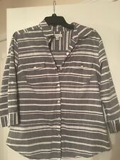 KIM ROGERS Women's Striped Cotton Top Shirt Size Medium