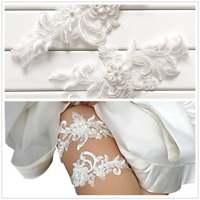 2Pcs/Set Bridal Wedding Garter Lace Garter Flower Rhinestone Prom Garter Belt