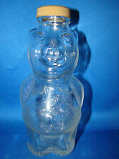 Glass Pig Piggy Bank Bottle Vintage 1950's New England Syrup Clear Glass @2B