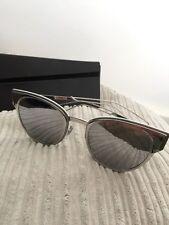 Dior Sculpt/S 010 DC Palladium Metal Cat-Eye Sunglasses Silver Mirror Lens
