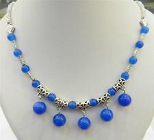 LOVELY NATURAL BLUE SAPPHIRE ROUND BEADS PENDANTS & TIBET SILVER NECKLACE 18""