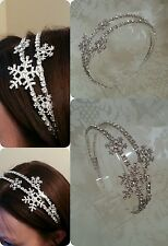 STATEMENT SNOWFLAKE WINTER CRYSTAL DIAMANTE DOUBLE SIDE HEADBAND HAIR TIARA