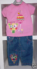 MINOTI BABY EMBROIDERED T-SHIRT AND JEANS SET- AGE 3-6 MONTHS - NEW