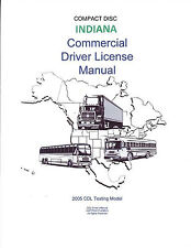 COMMERCIAL DRIVER'S MANUAL FOR CDL TRAINING (INDIANA) ON CD IN PDF PROGRAM.