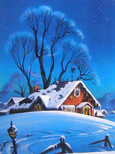 Winter House Trees Moonlight  Frans Van Lamseered vintage art