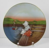 The Sun Bonnet Babies Royal Bayreuth Germany 1974 Plate Sunday FISHING