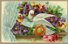 Best Wishes Floral Flowers White Dove Delivering Best Wishes Purple & Yellow Emb