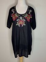 JOHNNY WAS Womens Embroidered Shaylee Blouse Black Floral Tunic Retail $250 XS