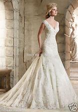 2018 White/Ivory Mermaid Beaded Lace Wedding Dress V Neck Cap Sleeve Bridal Gown
