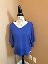 WHITE HOUSE BLACK MARKET WOMENS BLUE CORSET BLOUSE BAT WING SIZE XS
