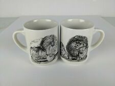 Vintage The Cache Pomeranian black and white mugs Total of 2 mugs