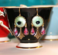 Vintage peacock eye glass Sabrina pink blue Art Nouveau artisan earrings