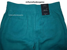 Womens Marks & Spencer Green Linen Wide Leg Trousers Size 14 Petite LABEL FAULT