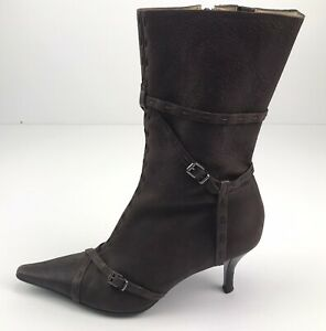 Carlos by Carlos Santana Brown Leather Women's Side Zip High Heel Boots Size 7M