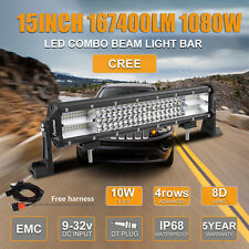 15Inch CREE Led Light bar Fog Lamp for Ford Jeeo Golf 1080W 8D+ Easy Install