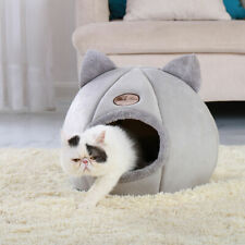Large Cat Dog Bed Cave Small Wool Cozy Pet Igloo Bed Winter House Nest Kennel