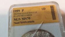 ERROR 1999 SILVER DOLLAR AMERICAN EAGLE 1 TROY OZ. VERY RARE POP 1 OF 7,480,000