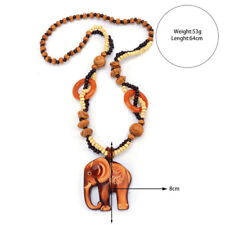 Necklace Boho Jewelry Wood Elephant Pendant Ethnic Style Hand Made Bead Long LD