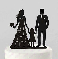 Family Bride Groom Child Girl Daughter Silhouette Wedding Cake Topper Decoration