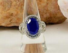 Beautiful Lapis Lazuli Split Shank Ring Size 6 TCW 5.50 Stainless Steel