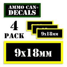 """9 x 18mm Ammo Can Labels Ammunition 3""""x1.15"""" stickers decal 4 pack BLYW"""