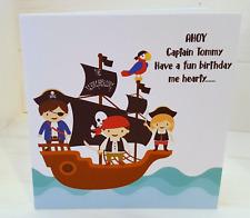 HANDMADE PERSONALISED PIRATE THEMED BIRTHDAY CARD, CUTE PIRATE PEOPLE, BIRTHDAY