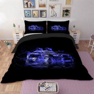 Racing Car Duvet Quilt Cover 3D Bedding Set with Pillowcases Single Double King