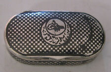 AN OVAL SNUFF OR PILL BOX WITH BLACK COLOR PATTERN ON IT HALLMARKED 84