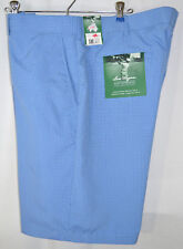 Ben Hogan Golf Shorts Blue Cks UPF 15 Flat Front Men's Tag 40W-Measures 42W NWT