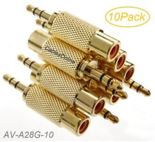 10-Pack 3.5mm Stereo TRS Male Plug to RCA Female Jack Audio Adapters, AD-A28G-10