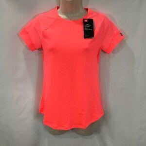 Under Armour Run Women's HexDelta Fitted HeatGear Running Shirt Coral Sz Small