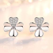 Wholesale 925 Silver Stud Earrings Crystal Clover Heart Shape Women Jewelry