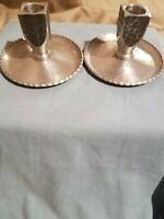 Vintage Hand Forged Aluminum Candlesticks, set of 2