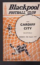 Cardiff City At Blackpool FC August 16 1971 Soccer Program Football